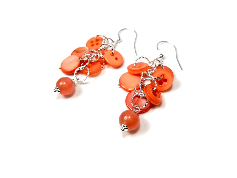 Pink Coral Earrings Button Cluster Dangles Summer Jewelry image 0