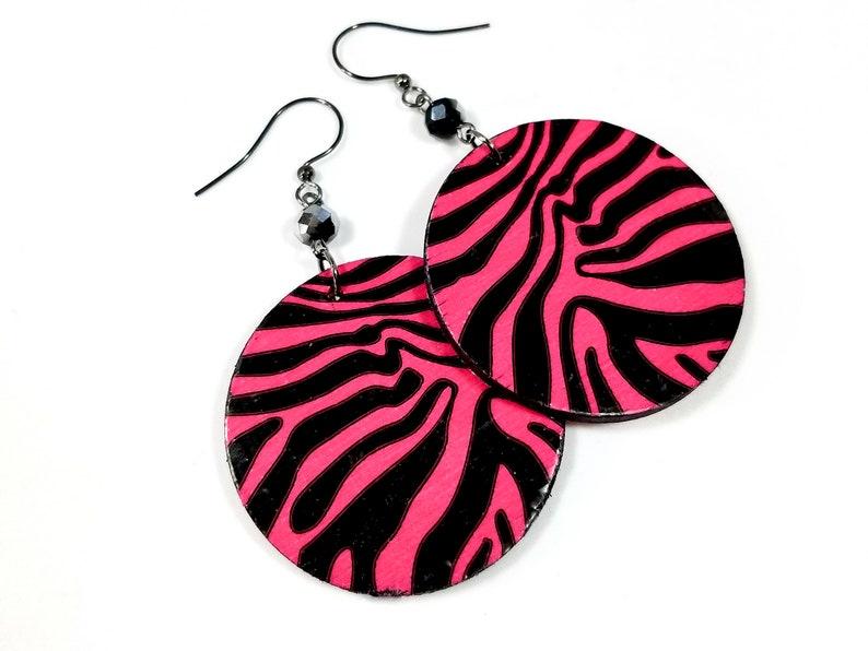 Fun Hot Pink Zebra Earrings Statement Earrings image 0