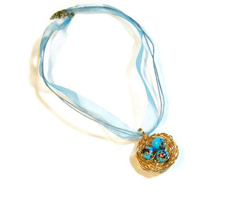 Robin's Nest Necklace Bird Lover Gift image 0