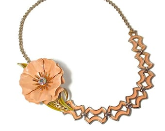 Repurposed Vintage Peach Flower Necklace, Peach Wedding Jewelry, Mother of the Bride