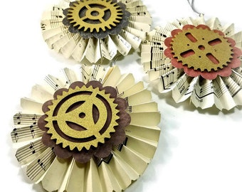 Steampunk Gear Ornaments, Victorian Paper Fans, Set of 3