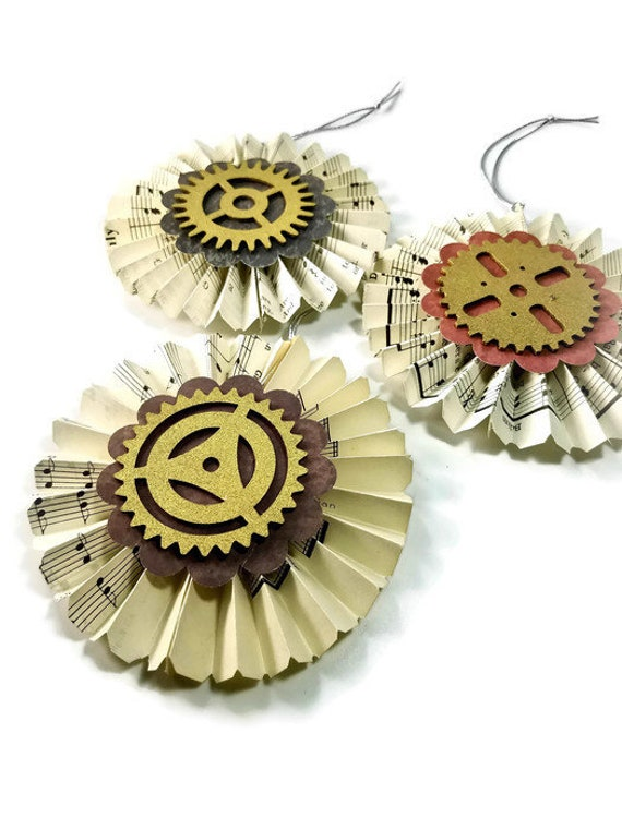 Handmade Steampunk Gear Ornaments, Victorian Paper Fan Ornaments, Vintage  Sheet Music Christmas Decorations, Music Lover Gift, Steam Punk