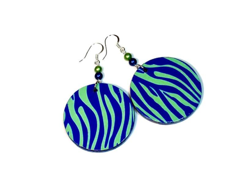 Seattle Football Earrings Blue Green Tiger Striped image 0