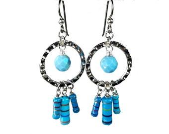 Light Blue Earrings,  Repurposed Resistors, Upcycled Jewelry