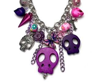 Purple Sugar Skull Statement Charm Necklace with Butterfly for Day of the Dead