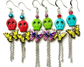 Day of the Dead Butterfly Sugar Skull Dangle Earrings