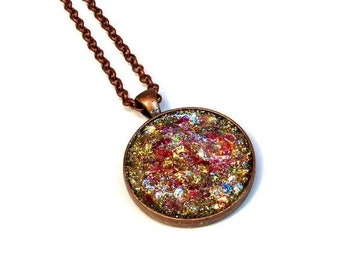 Glitter Necklace Pendant in Red Sparkle, Gift for Teen Girl