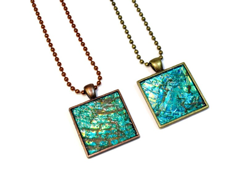 Blue Green Modern Necklace Upcycled CD Jewelry in Copper or image 0