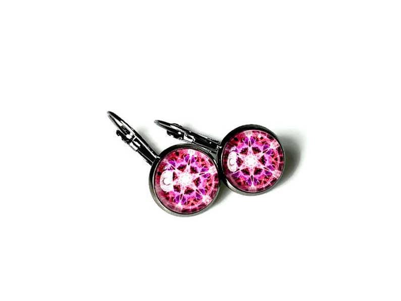 Hot Pink Drop Earrings Mandala Art image 0