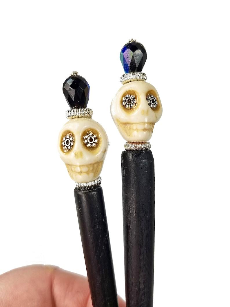 Black and White Sugar Skull Hair Sticks image 0