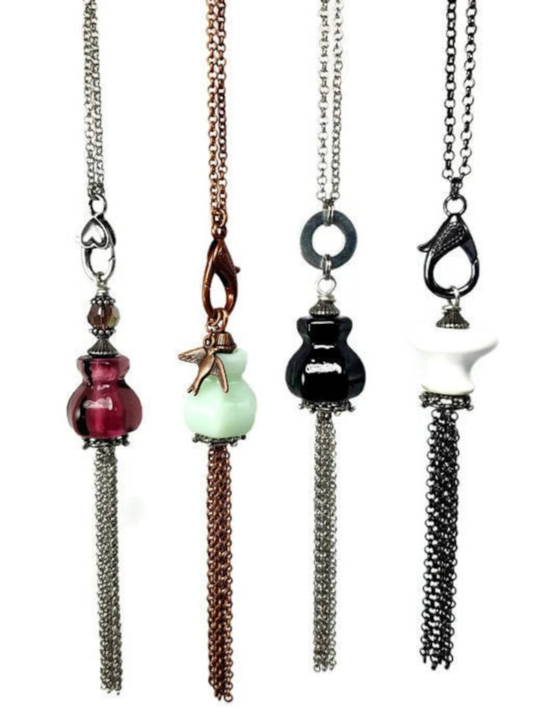 Repurposed Glass Long TASSEL Necklaces in Mint or White image 0