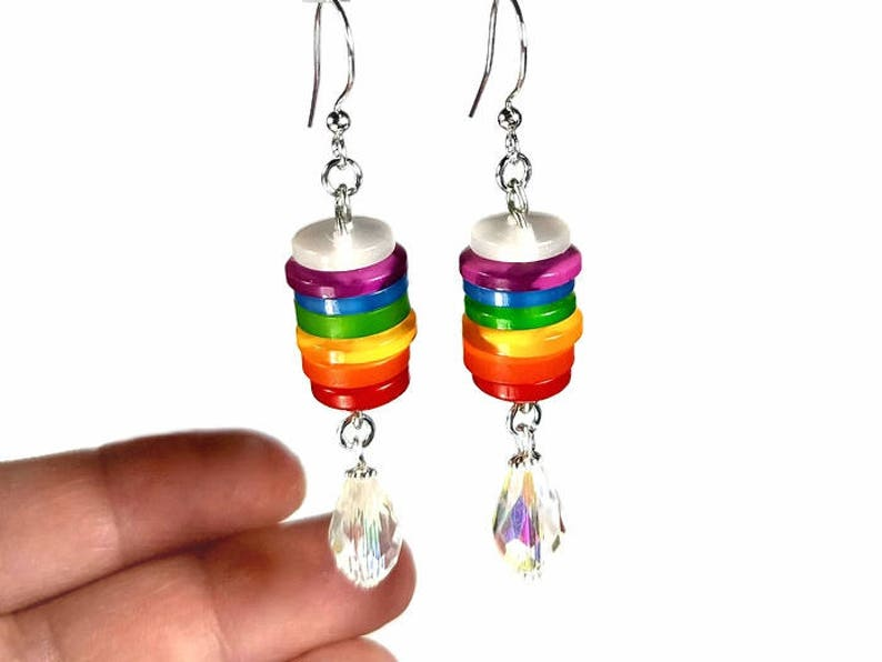 Rainbow Chakra Earrings with Upcycled Buttons image 0
