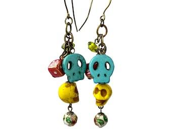 Sugar Skull Dangle Earrings, Day of The Dead Jewelry