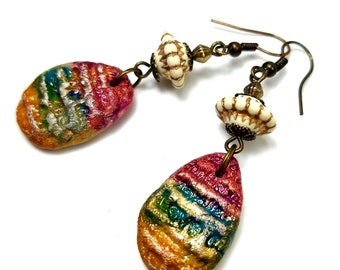 Handcrafted Artisan Drop Earrings, Rainbow, Hand Stamped Jewelry, Boho Love