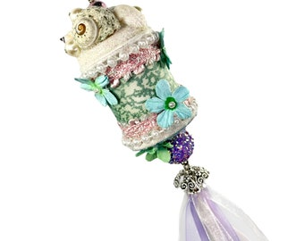 Ocean Inspired Seashell Ornament, Upcycled Spool with Jellyfish Ribbon Dangle