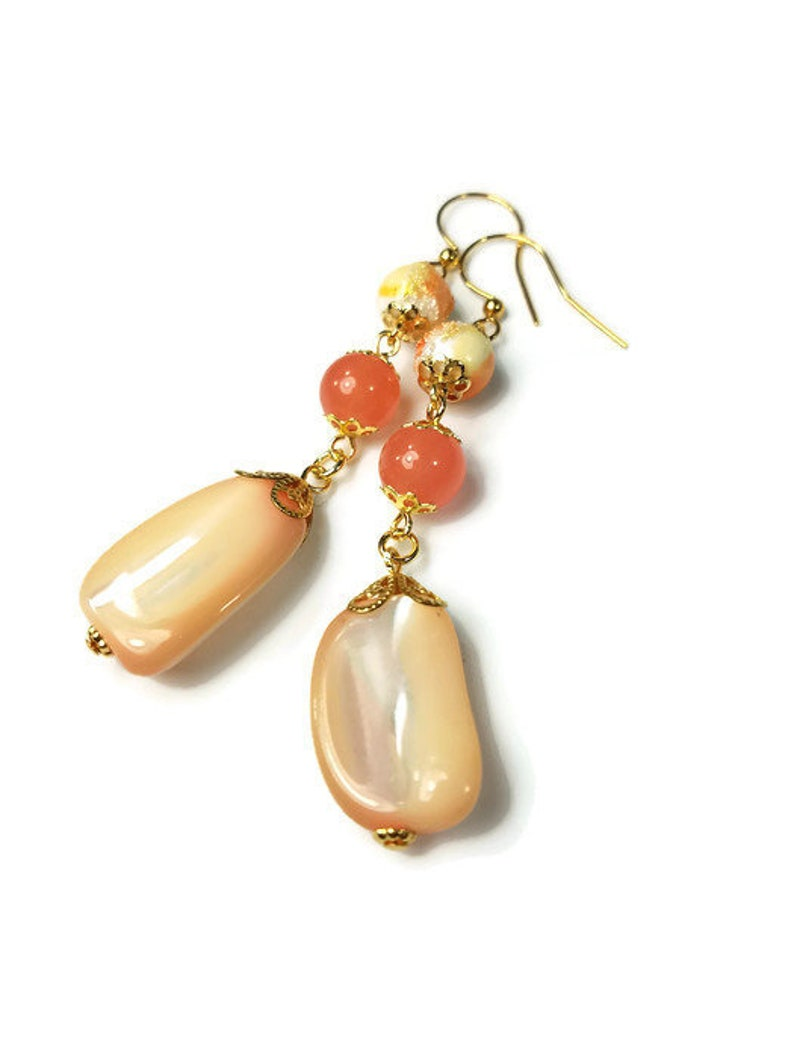 Vintage Peachy Coral Shell Earrings for Summer image 0