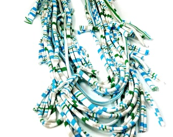 Women's Light Infinity Scarf Statement Necklace for Summer in White, Blue and Green