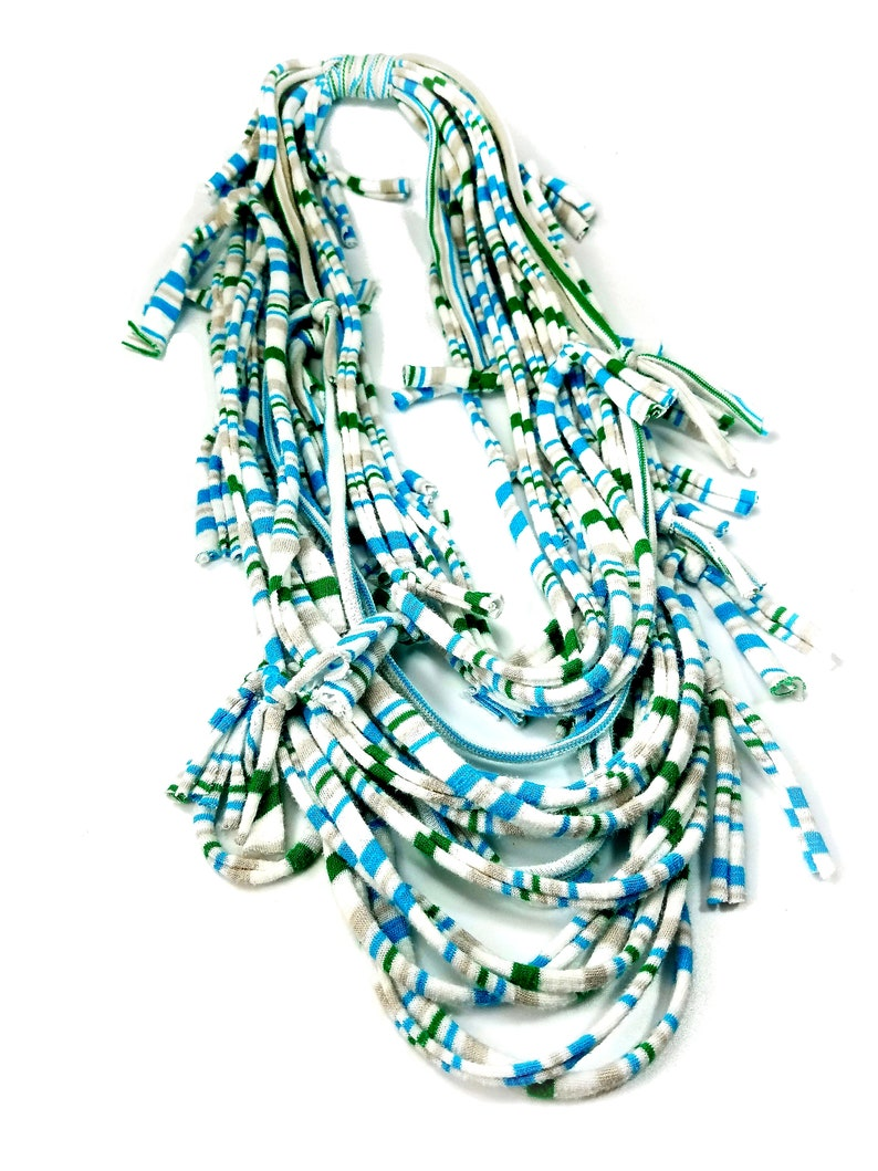Light Infinity Scarf Statement Necklace for Summer in White image 0