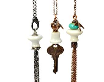 Long Boho Necklaces, Upcycled Jewelry, Ceramic Knob, Tassel OR Key