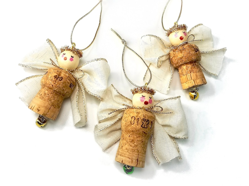 Champagne OR Wine Cork Ornaments Angel Christmas Decorations image 0