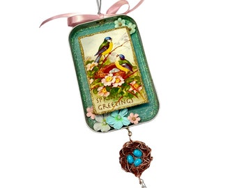 """Birds Nest Ornament, Friendship Gift, """"Thinking of You"""", Spring Greetings"""