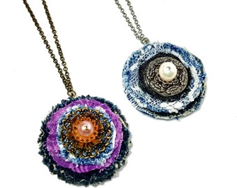 Shabby Upcycled Fabric Necklace Pendants with Freshwater Pearls, Eco-Chic Denim Jewelry