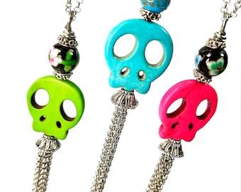 Long Skull Necklace, Long Tassel, Day Of The Dead Jewelry