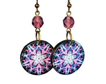 Sand Dollar Mandala Earrings in Pink Purple, Ocean Inspired, SMALL