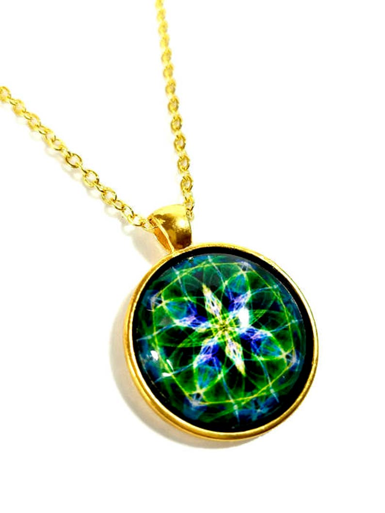 Emerald Green Necklace Mandala Pendant New Age Jewelry 4th image 0