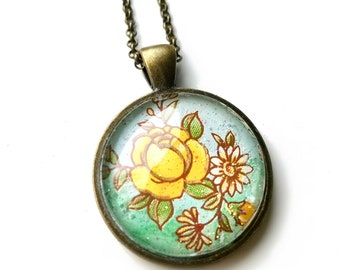 Rose Necklace Pendants, Flower, Vintage Inspired Gift for Mothers Day