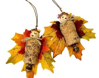 Autumn Fairy Ornament, Fall Wine Cork Decorations, Leaf Fairies