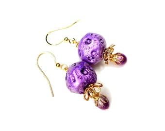 Purple Earrings, Sea Urchin, Jelly Fish, Ocean Inspired Jewelry