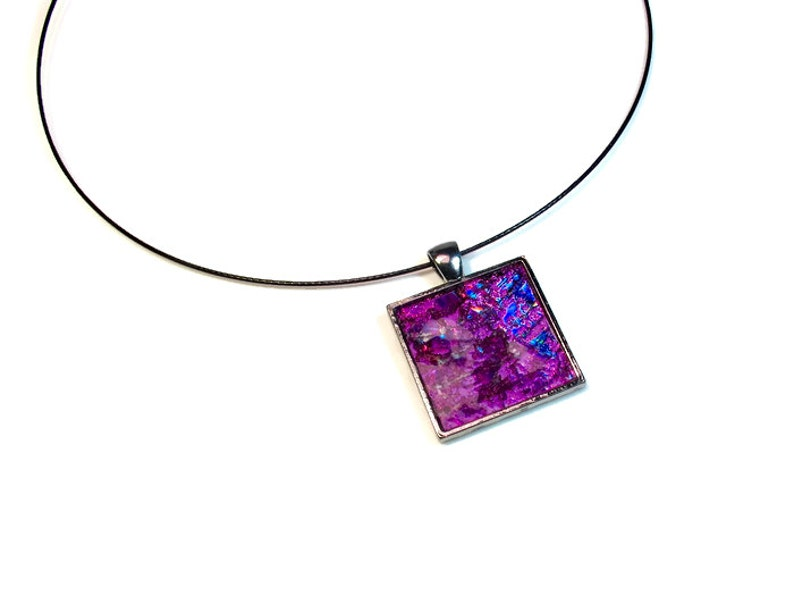 Handmade Modern Purple Necklace Upcycled DVD image 0