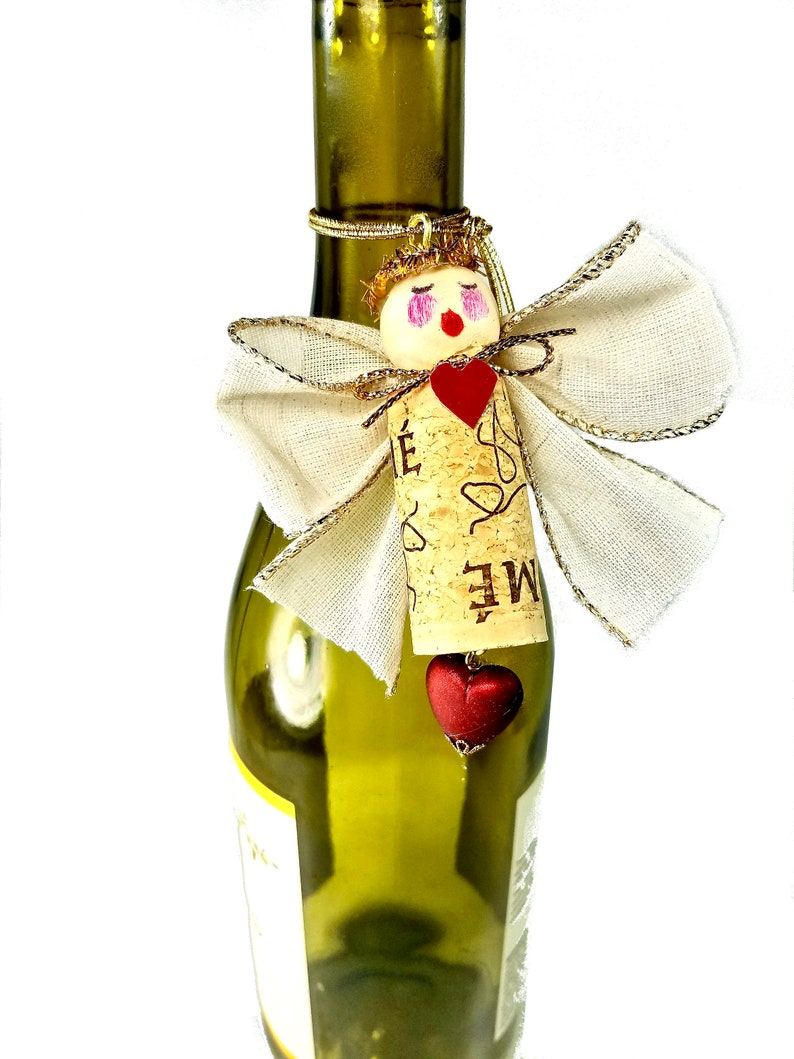 Valentines Wine Charm Bottle Ornament Cork Angel image 0