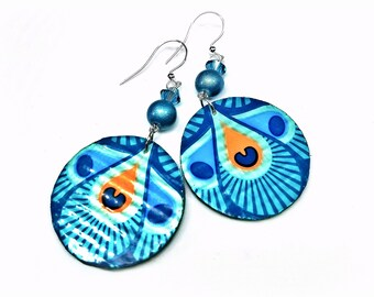 Peacock Feather Earrings Or Chevron Or Leopard, SMALL