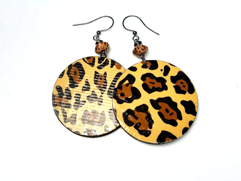 Fun Leopard Earrings Animal Print  Statement Jewelry Fall image 0