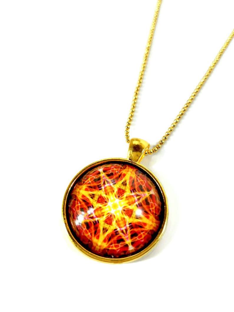 Golden Sun Mandala Yellow Star Necklace 3rd Chakra Pendant image 0