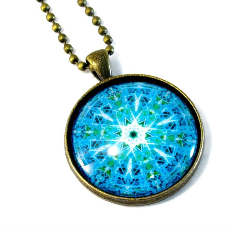 Turquoise Mandala Necklace Pendant MEDIUM image 0