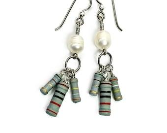 Geek Chic Pearl Earrings, Resistor Jewelry