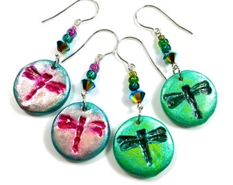 Dragonfly Earrings, Boho Jewelry, Nature Gifts For Her, Sterling Silver Ear Wires