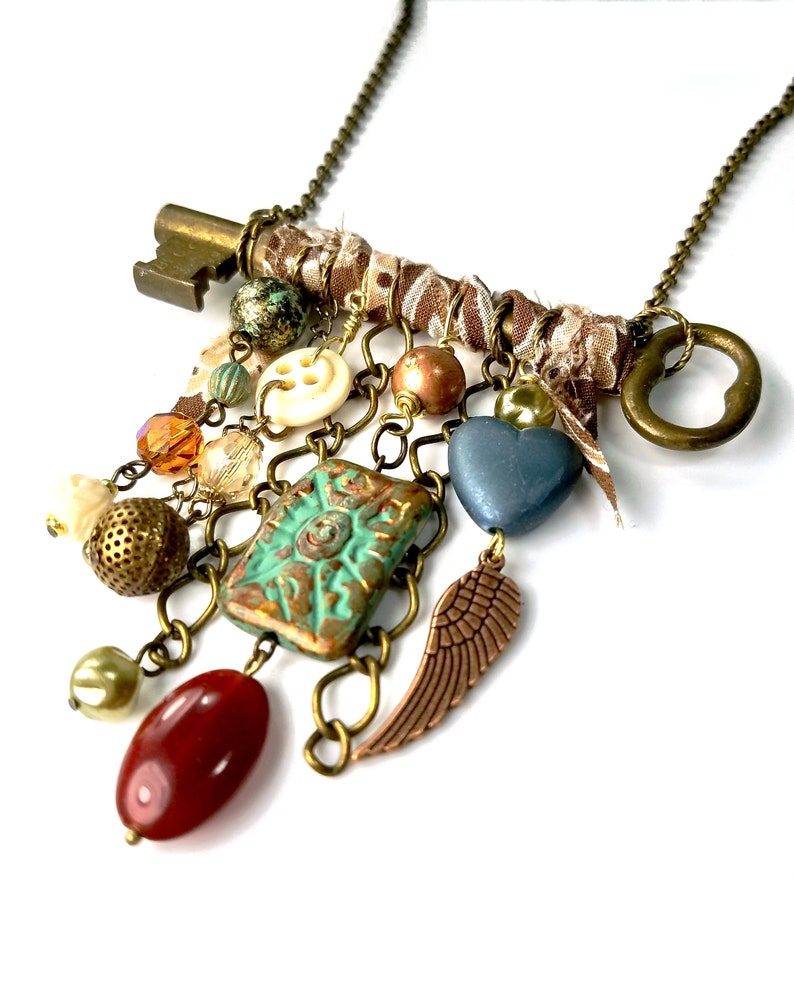 Rustic Antique Key Necklace Statement with Charms image 0