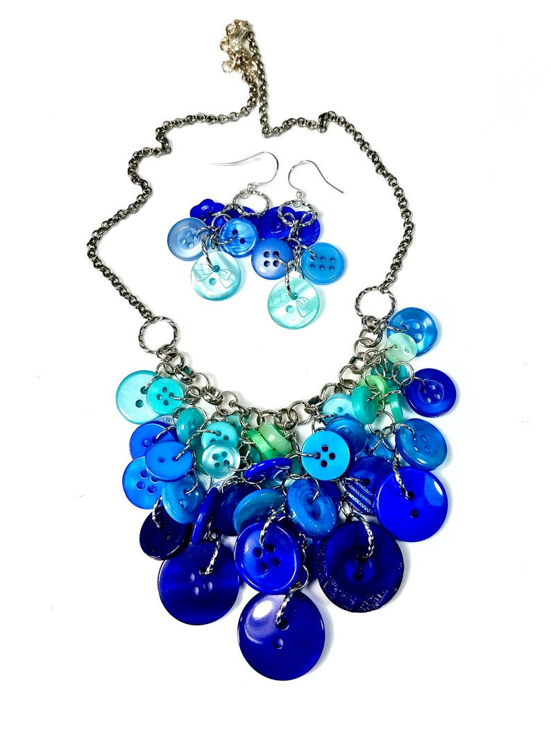 Blue Necklace Earring Set Button Jewelry Gift image 0