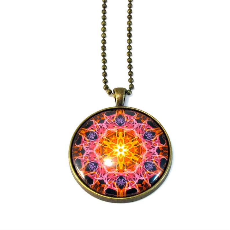 Fiery Mandala Necklace Pendant New Age Jewelry LARGE image 0
