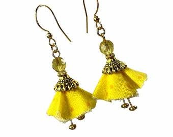 Yellow Flower Earrings, Gift for Gardener, Upcycled Fabric Jewelry, Bellflowers