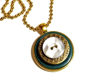 Upcycled Jewelry, Vintage Button Necklace,  Button Pendant, Repurposed Buttons, Teal, Handmade Gifts, Gift For Her