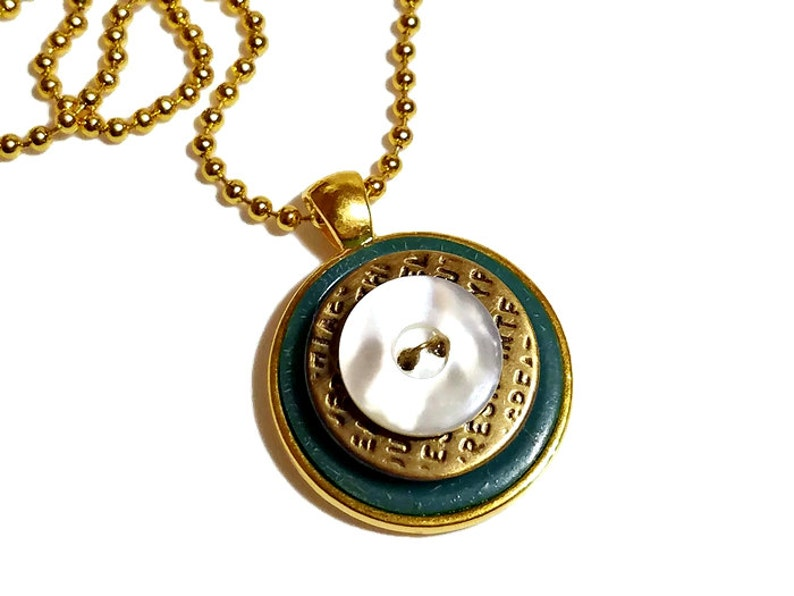 Upcycled Vintage Button Necklace Pendant in Gold image 0