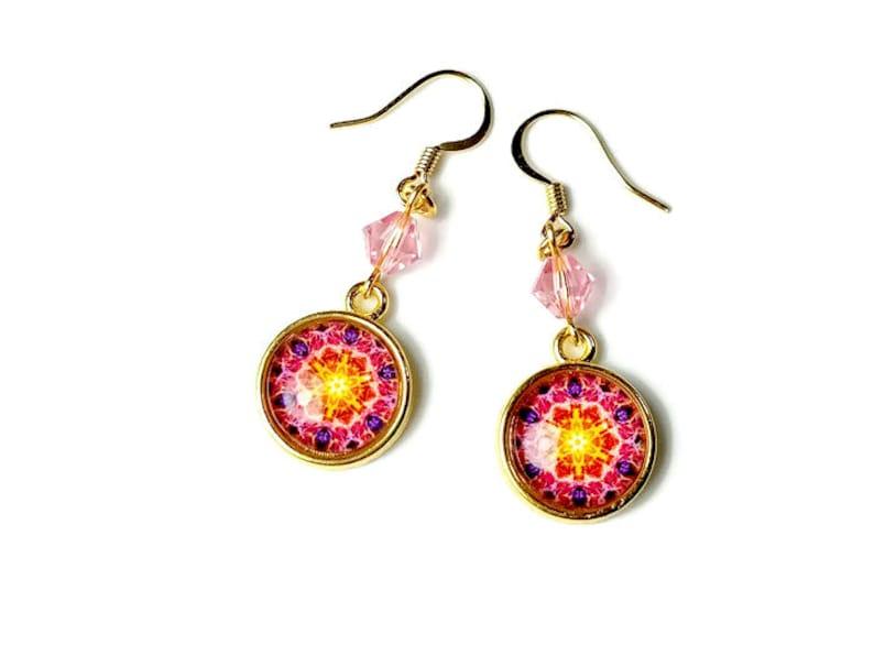 Cute Yellow Pink Mandala Earrings Handmade Gift Ideas For image 0