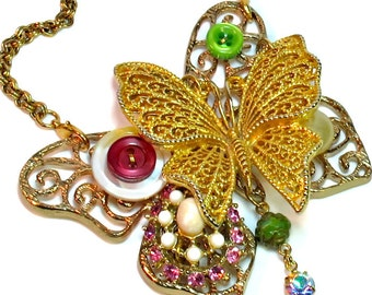 Butterfly Necklace Statement, Repurposed Vintage Butterflies