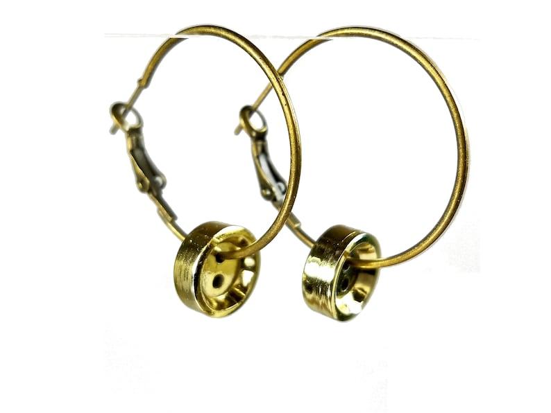 Gold Button Hoop Earrings Repurposed Jewelry image 0