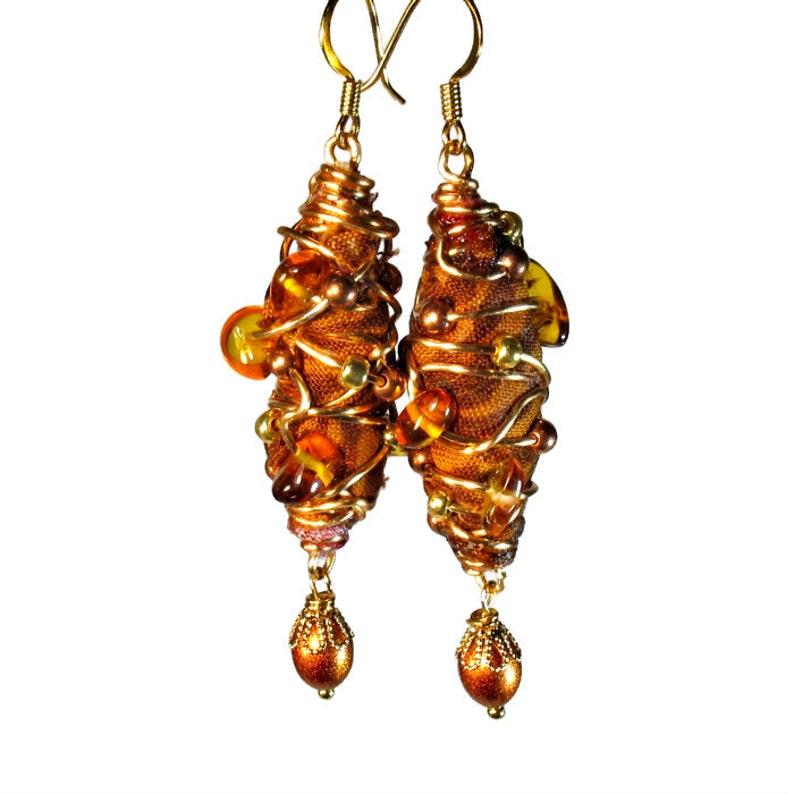 Earthy Amber Brown Earrings Handcrafted Fiber Art Jewelry image 0